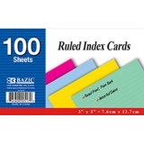 COLORED INDEX CARDS RULED 3X5